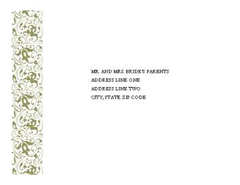 Wedding Reply Envelope (tapestry Design)
