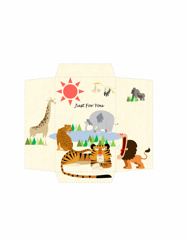 Money Envelope Template Word Animals Design