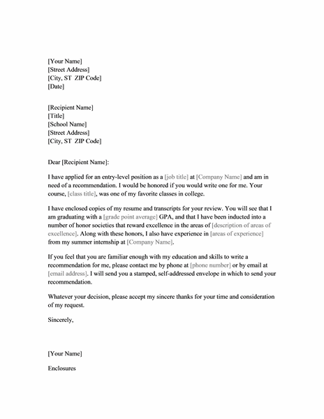Letter Requesting Job Recommendation From Professor