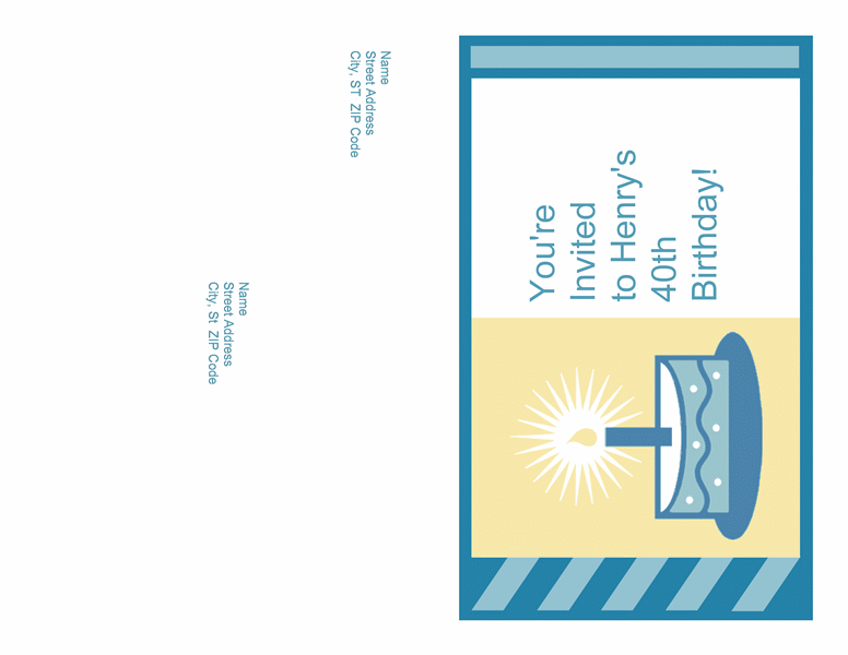 Birthday Party Invitation (mailer; Needs No Envelope)
