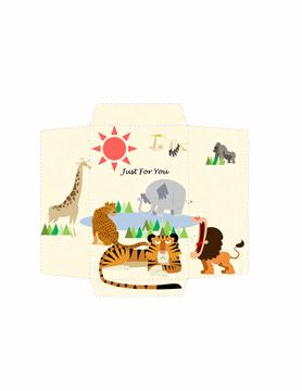 Money Envelope Template Word Animals Design