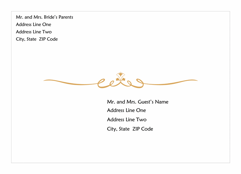 ... Wedding Invitation Envelope (heart Scroll Design) Envelope Templates