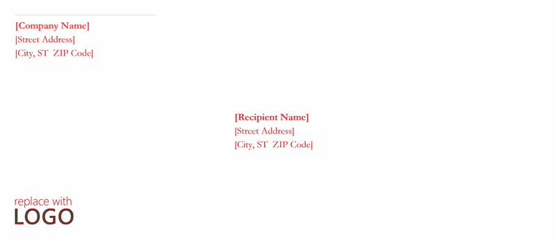 Envelope-template-word-2010- Red Design C5 Envelope Size