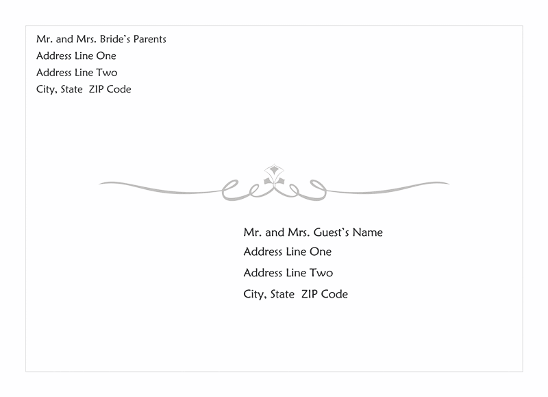 Download wedding invitation envelope heart scroll design for Word 2013 envelope template