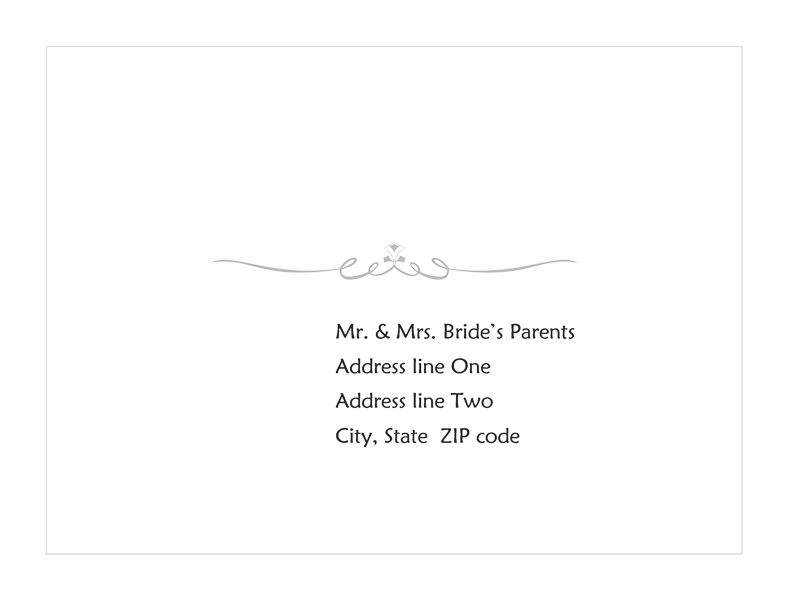 Download wedding response card envelope heart scroll for Word 2013 envelope template